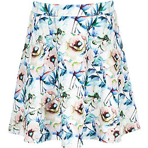 Girls white floral frill skirt