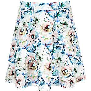 Witte rok met bloemenprint en ruches voor meisjes