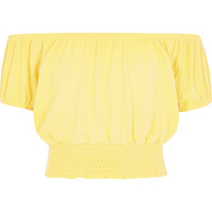 Girls yellow bardot crop top