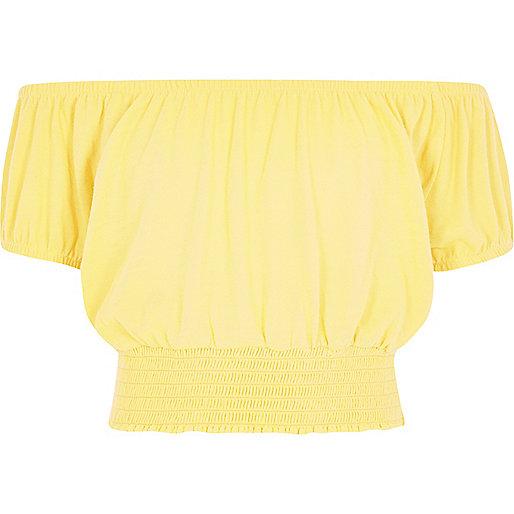Girls yellow bardot crop top