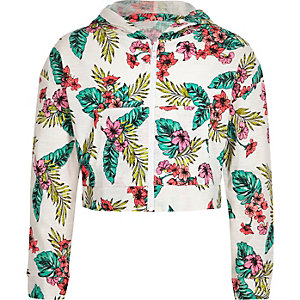 Girls white tropical print hoodie