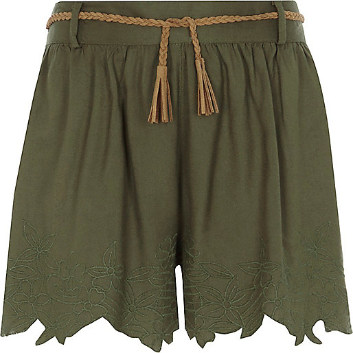 Girls khaki green embroidered belted shorts