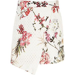 Girls white floral print wrap mini skirt