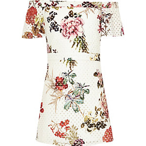 Girls white floral laser cut bardot dress