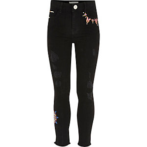 Girls black Amelie embroidered jeggings
