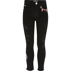 Amelie – Schwarze Jeans mit Stickerei