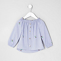 Mini girls blue stripe bardot embroidered top