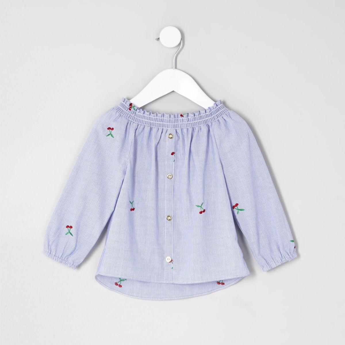 Mini girls blue stripe bardot embroidered top