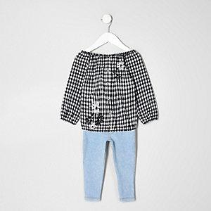 Mini girls gingham top and leggings set