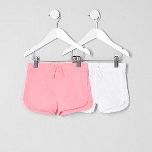 Mini - Multipack roze shorts met pompons voor meisjes
