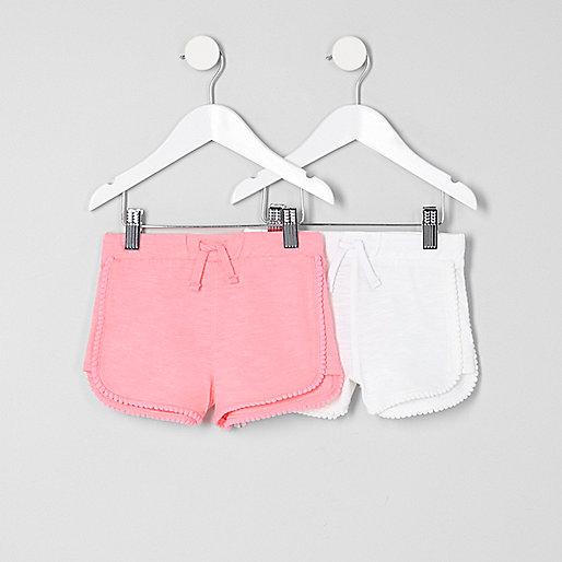 Mini girls pink pom pom shorts multipack
