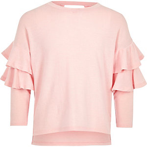 Girls pink knit double frill sleeve sweater
