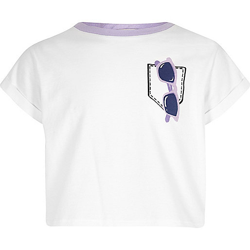 Girls white sunglasses print cropped T-shirt