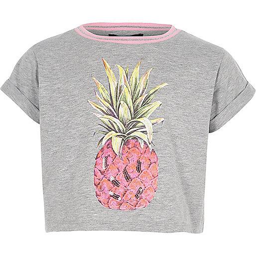 Girls grey pineapple sequin print crop top