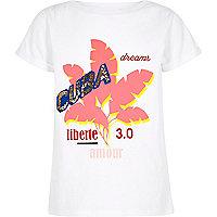 Girls white 'Cuba' sequin embellished T-shirt