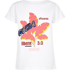 Wit T-shirt met 'Cuba'-print verfraaid met lovertjes voor meisjes