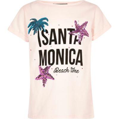 Roze T-shirt met Santa Monica'-print en lovertjes voor meisjes