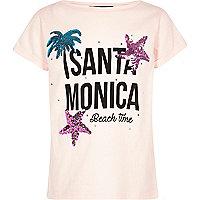 Girls pink 'Santa Monica' sequin T-shirt