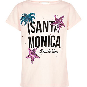 Girls pink 'Santa Monica' sequin T-shirt