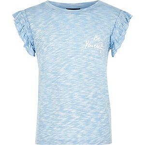 Girls blue print ruffle sleeve T-shirt