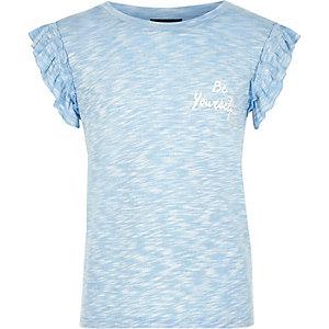 T-shirt imprimé bleu à manches à volants pour fille