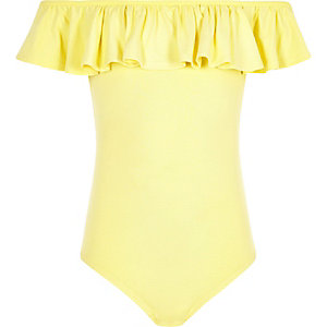 Girls yellow frill bardot bodysuit