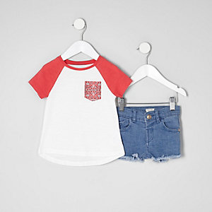 Mini girls red bandana pocket T-shirt outfit