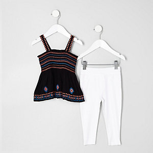 Mini girls embroidered cami top outfit