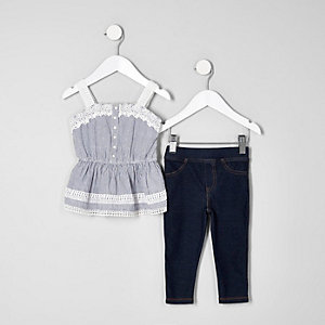 Mini girls blue cami and leggings outfit