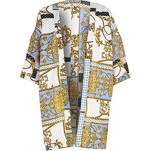 Girls blue scarf print cold shoulder kimono