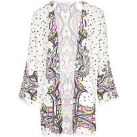 Girls cream print longline kimono
