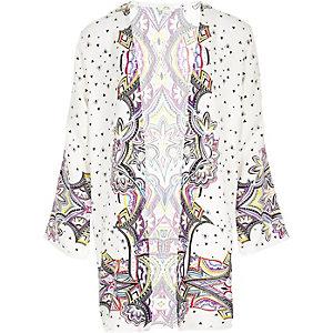 Kimono long crème à imprimé pour fille