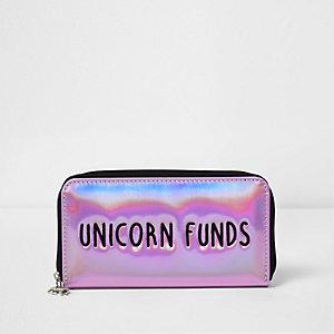 Porte-monnaie «Unicorn Funds» rose métallisé pour fille