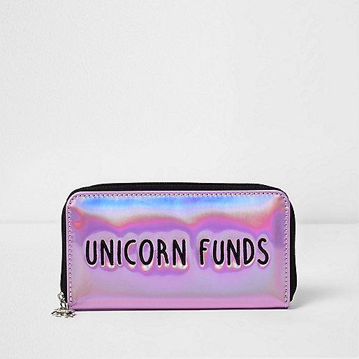 Girls pink 'Unicorn Funds' metallic purse