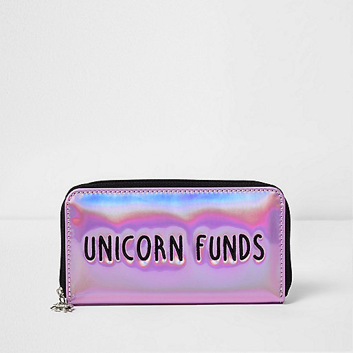 Girls pink 'Unicorn Funds' metallic purse