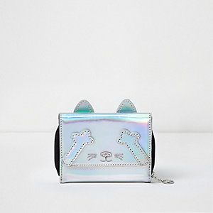 Girls silver metallic small cat purse