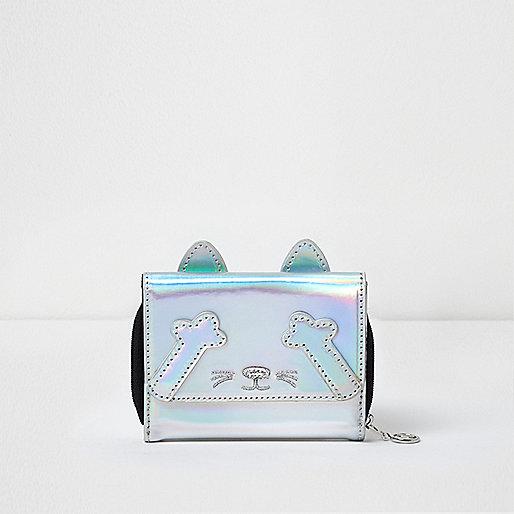 Girls silver metallic small cat purse