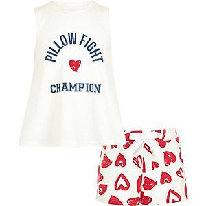 Girls pink 'Pillow Fight' print pyjama set