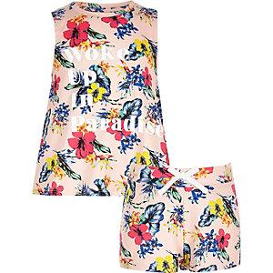 Oranges Pyjama-Set mit tropischem Muster