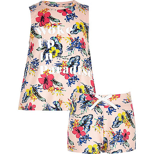 Girls orange tropical print pajama set
