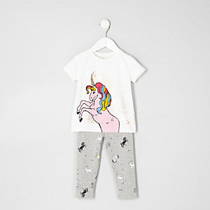 Mini girls white print T-shirt pajama set