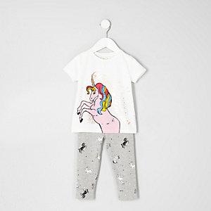 Mini - Pyjamaset met wit T-shirt met print voor meisjes