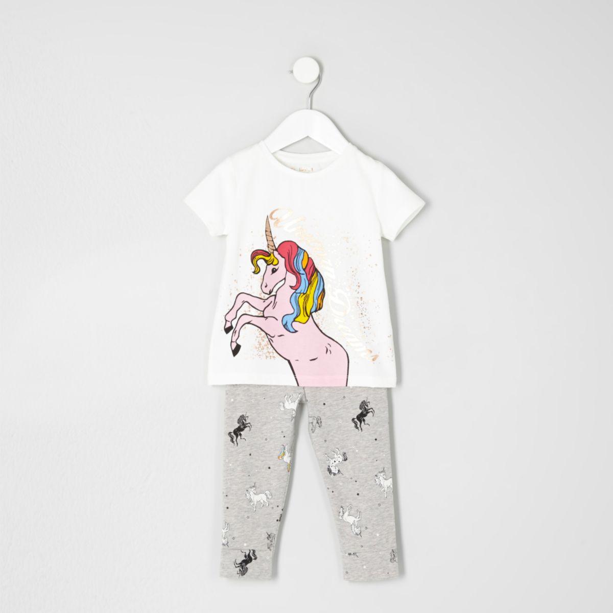 Mini girls white print T-shirt pajama set