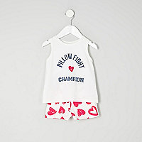 Mini girls blue print sleeveless pyjama set