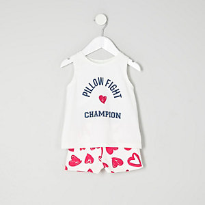 Mini girls blue print sleeveless pajama set