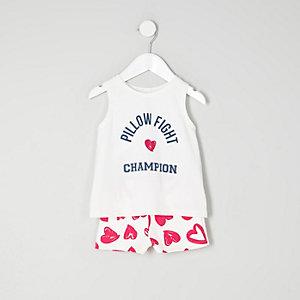 Mini - Blauwe mouwloze pyjamaset met print voor meisjes