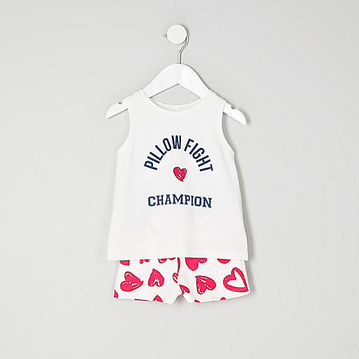 Mini girls blue print sleeveless pajama set