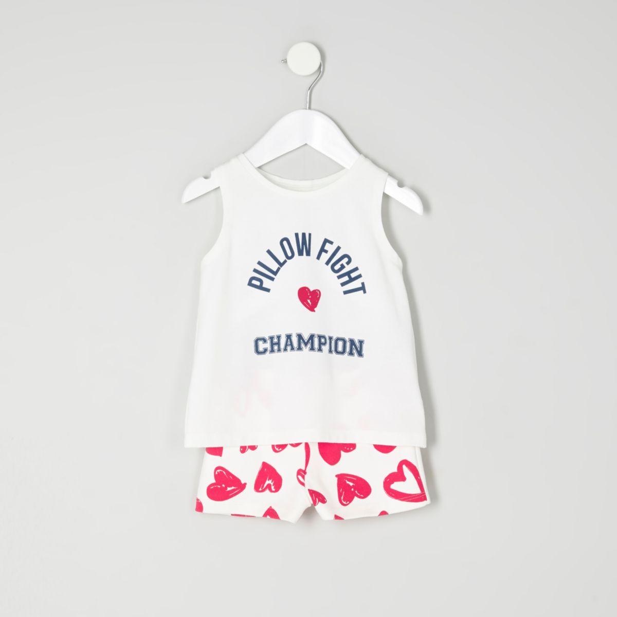 Mini girls blue print sleeveless pyjama set