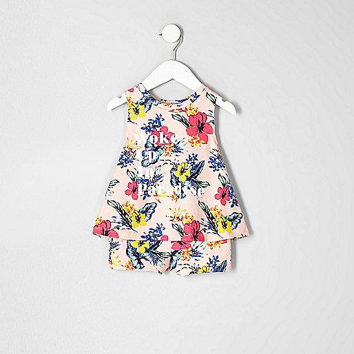 Mini girls orange tropical print pajama set