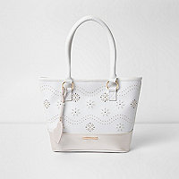 Girls white floral laser cut stud shopper bag